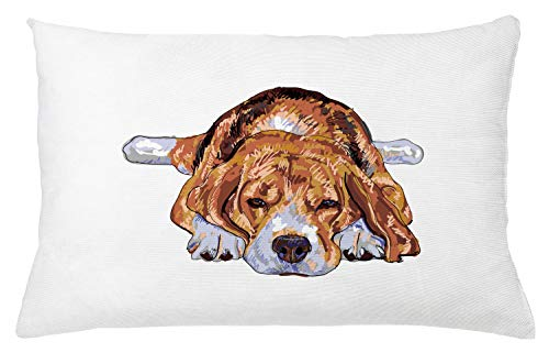 """Ambesonne Beagle Throw Pillow Cushion Cover, Old Dog Resting Sleeping Tired Puppy Short Haired Purebred Sketch Art, Decorative Rectangle Accent Pillow Case, 26"""" X 16"""", Blue White"""