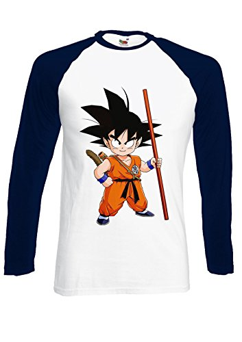 Japanese Anime Manga Dragon Ball Goku Navy/White Men Women Unisex Long Sleeve Baseball T Shirt-S