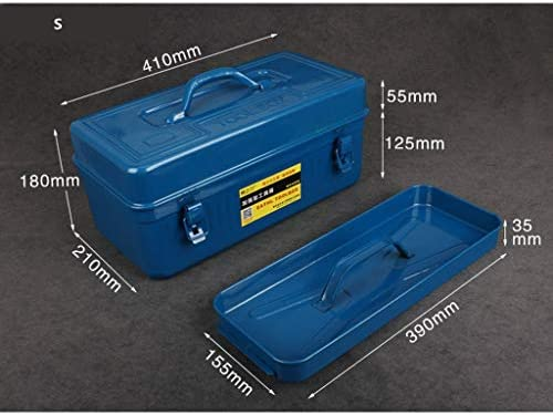 JSY ティン・家庭用ツールボックスのハードウェア工具収納ボックスカー多機能肥厚スーツケース ツールボックス (Size : S)