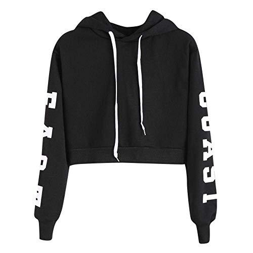 Zhrui Femmes Vêtement Casual Hoodies couleur Sweat Mode Blouse Lâche Hauts Grand Élégant La Pull À Lettre Taille Lettre Noir r5xqr4f7nw