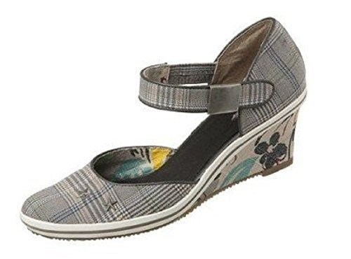 heel Wedge Walk Gray sandal in Grey with Kariert Grau Chequered City qqSfH
