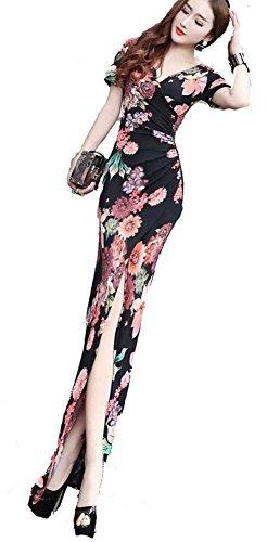 その間ダーリン提案KimBerley 花柄 半袖 スリット ロングドレス マキシ丈 タイト ワンピース M セクシー パーティー キャバ嬢 ナイトドレス ファッション