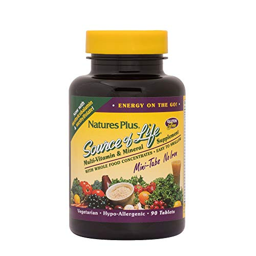 NaturesPlus Source of Life Mini-Tabs No Iron - 90 Vegetarian Mini Tablets - Easy to Swallow Natural Whole Food Multivitamin & Mineral Supplement for Health & Energy - 15 Servings (Tabs Life Mini)
