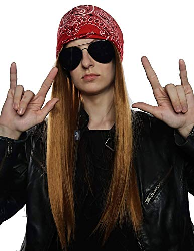 Axl Slash Halloween Costume (90's Rocker Costume Wig 3pc Set + Bandana + Sunglasses Mens 80s Rockstar)
