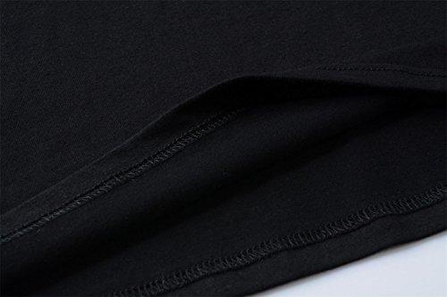 Maglietta shirt Tops Camicetta Donna Corte Cotone Casual Yeesea T Nero Maniche gH8wC