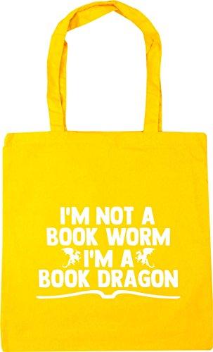 not litres book I'm 42cm HippoWarehouse Yellow Gym Beach Tote dragon worm Shopping 10 book im a Bag a x38cm TC0dd654q