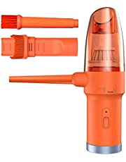 Cordless Compressed Air Duster & Keyboard Vacuum, Portable Electric Air Blower for Car Vehicle Computer, Small Handheld Vacuum Cleaner Replaces Canned Air Spray for PC-Orange