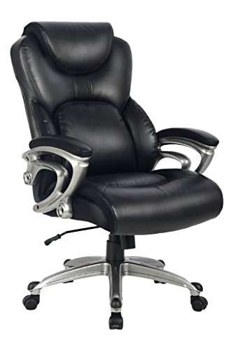 VIVA OFFICE Bonded Leather High Back Executive Chair with Thick Padded Headrest, Armrest and Seat