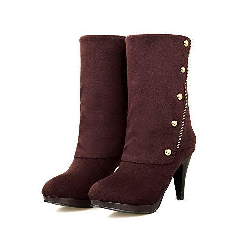 Closed High AmoonyFashion Round Imitated Toe Suede Women's On Boots Heels Solid Pull Brown wwqfzBxC