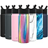 Simple Modern 18 oz Summit Water Bottle with Straw Lid - Gifts for Hydro Vacuum Insulated Tumbler Flask Double Wall Liter - 18/8 Stainless Steel Pattern: Rainbow
