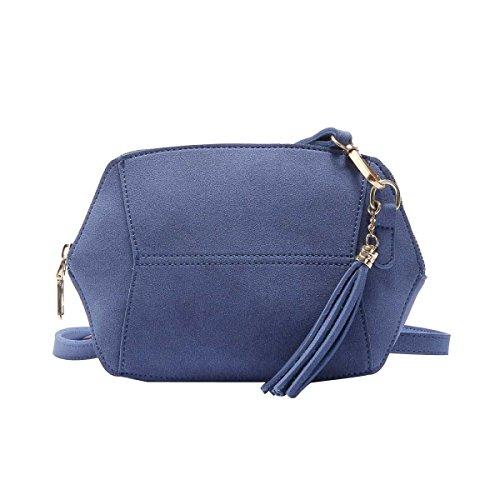 Borsa Donna Semplice Moda Smerigliato Colore Della Caramella Del Sacchetto Della Nappa Spalla,Blue-OneSize