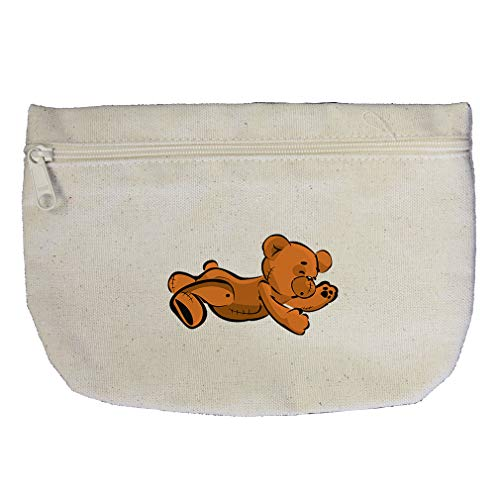 Teddy Bear Lying On Stomach Cotton Canvas Makeup Bag Zippered Pouch