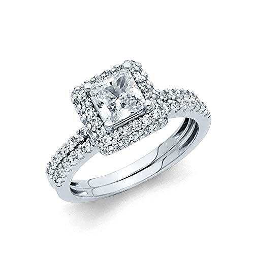 Wellingsale Ladies Solid 14k White Gold Polished CZ Cubic Zirconia Princess Cut Halo Engagement Ring with Side Stones and Matching Band Bridal Set - Size 7