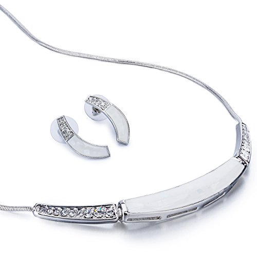 Beautiful Arc Design Mother of Pearl & Swarovski Crystal Necklace & Earring Jewelry Set. Classic Contoured Neck Design Jewelry, Perfect for Everyday - Clear on Silver Rhodium, Janeo (Halloween Costumes With Next Day Delivery)