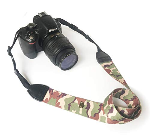 Alled Camera Strap, Vintage Soft Camera Neck Shoulder Belt Straps Leather for Women/Men, Camouflage Camera Strap for All DSLR/Nikon/Canon/Sony/Olympus/Samsung/Pentax ETC,Camouflage