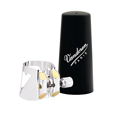 Vandoren LC02P Optimum Ligature and Plastic Cap for Eb Clarinet Silver Plated with 3 Interchangeable Pressure Plates