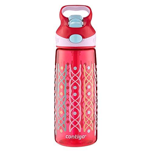 (Contigo AUTOSPOUT Straw Striker Kids Water Bottle, 20 oz, Ruby Dot Weave)