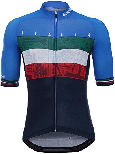 (Santini Blue 2018 Emblem Short Sleeved Cycling Jersey (M, Brown))