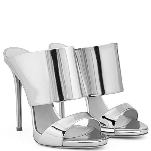 GL@YC Women'S High Heeled Cool Slippers Shiny Luxury Comfortable Wedding Wedding Dress Office Shoes , silver , 39