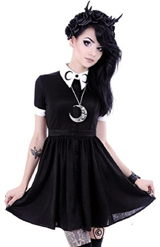 Restyle Gothic Luna Crescent Moon White Collar Mini Dress - Black (White Goth Dress)