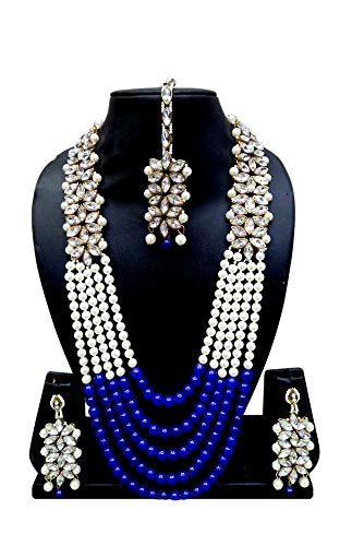 CROWN JEWEL Bollywood Indian Fashion Wedding Pearl Gold Plated Bridal Jewelry Necklace Earring Set for Women - Pearls Necklace Blue Set