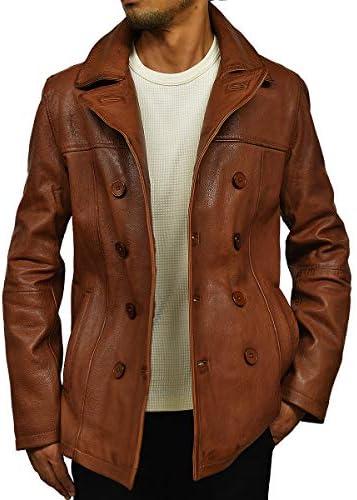 本革 ピーコート メンズ レザージャケット レザーコート ライダースジャケット 革ジャン 皮ジャン Pコート 革コート ダブル 大きいサイズ TQPPCOAT