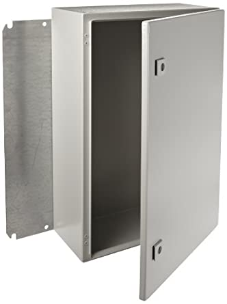 "Rittal 8017545 Light Grey 16 Gauge Steel Single Door Hinge Cover Wallmount Enclosure, 16"" Width x 24"" Height x 8"" Depth"