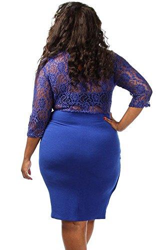 NEW de plus Taille Bleu Royal dentelle sexy pour femme robe Casual Soirée porter Taille XXL UK 16EU 44