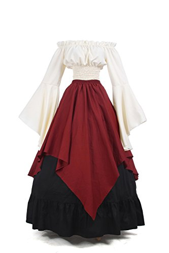 Kleid ni Kleid Nuoqi Langarm Damen Mittelalterliche Königin Kostüm Party Maxi Gc229b x7vSYqvtw