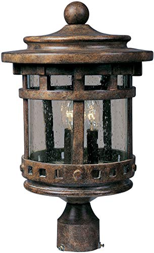 Maxim 3136CDSE Santa Barbara Cast 3-LT Outdoor Pole/Post Lantern, Sienna Finish, Seedy Glass, CA Incandescent Incandescent Bulb , 60W Max., Dry Safety Rating, Standard Dimmable, Frosted Glass Shade Material, Rated Lumens