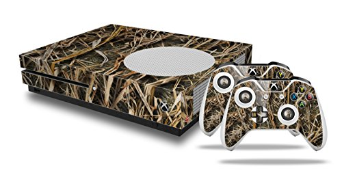 WraptorCamo Grassy Marsh Camo - Decal Style Skin Set fits XBOX One S Console and 2 Controllers (XBOX SYSTEM SOLD SEPARATELY)