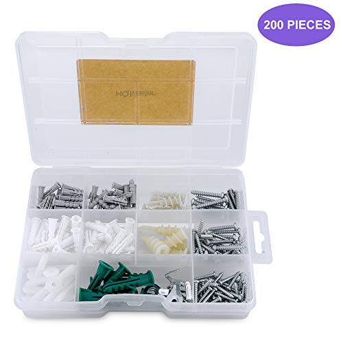 HQMaster Drywall Anchors and Screws Kit 200PCS, Plastic Hollow Wall Anchor Assortment Set Self Drilling Auger/Ribbed Anchors, Self-Tapping Screws, Wall Anchor Hooks, Hollow Door Toggle Wall Mount Tool