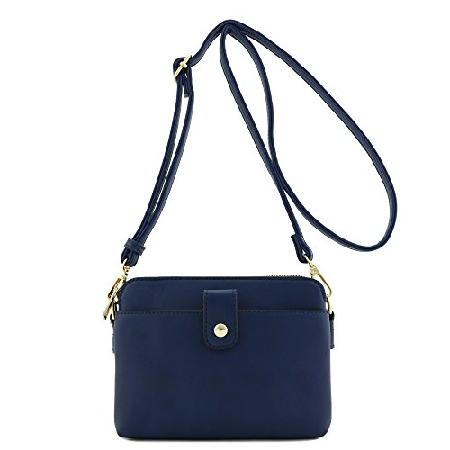 Double Compartment Small Crossbody Bag (Navy) (Bag Blue Body Cross)