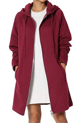 - TheMogan Women's Hoodie Oversized Zip Up Long Fleece Sweat Jacket Burgundy 1XL