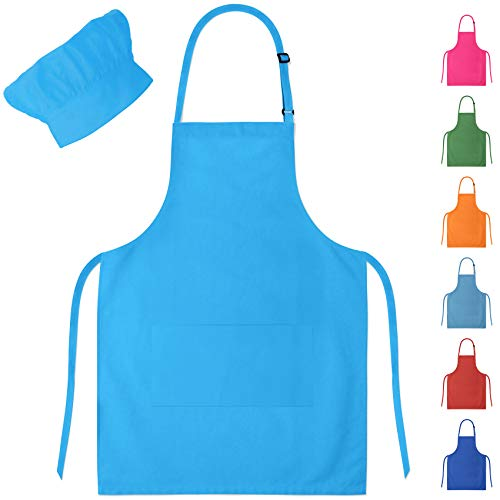 Blue Kids Apron & Chef Hat for Boys & Girls Ages -