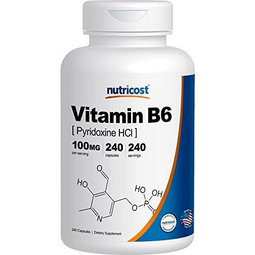 Nutrition Now B6 Vitamins (Nutricost Vitamin B6 (Pyridoxine HCl) 100mg, 240 Capsules)