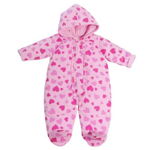 Infants Pink Snowsuit with Heart Print and Frill on Placket 6-9 Months