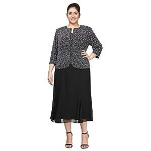 Alex Evenings Women's Plus Size Tea Length Button-Front Jacket Dress