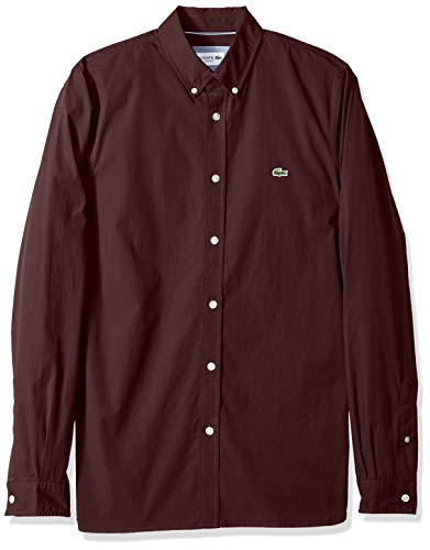 (Lacoste Men's Long Sleeve Solid Poplin Stretch Collar Slim Woven Shirt, CH5816, Vertigo, Medium)