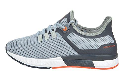 DREAM PAIRS Herren Pilot-M Athletic Laufschuhe Turnschuhe Grey Dk.grey Orange