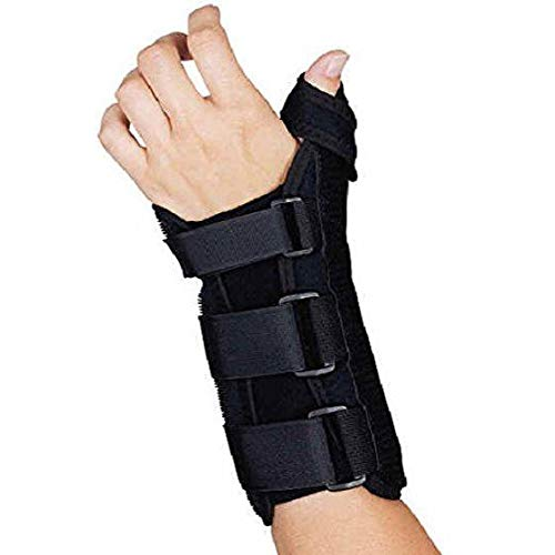 (Sammons Preston R-Soft Wrist Brace with Thumb Spica, MC and CMC Joint Support and Stabilizer, Secure Brace and Splint for Thumb with Open Finger, Splint for Recovery, Therapy, Rehabilitation)