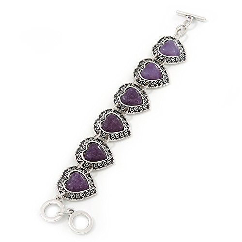 - Vintage Inspired 'Hearts' With Purple Ceramic Stones Bracelet With T-Bar Closure In Burn Silver Metal - 18cm Length