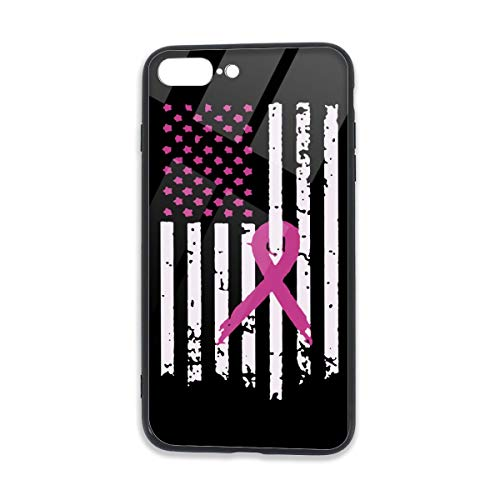 - Pink Ribbon Breast Cancer Awareness Flag,5.5 Inches Unisex Case for iPhone 7/7S/8/8S Plus TPU Glass Phone Case