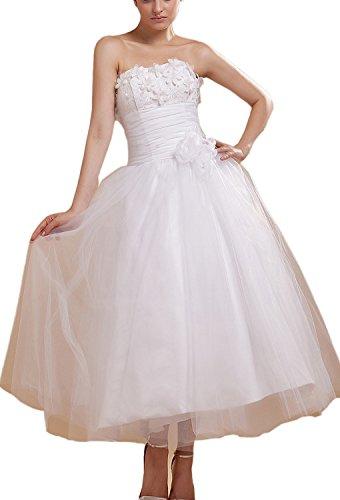 Strapless Mini Length Satin - Angel Formal Dresses Satin Strapless Knee Length Mini Wedding Dresses(16,White)