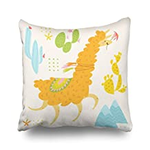 Cute Design Lama Cacti Alpaca Unicorn Throw Pillows Custom Home Decorative Sofa Square Pillowcase 18x18 inches Two Sides Cushion Covers Zippered Design