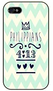iPhone 5 / 5s Bible Verse - Keep calm. Philippians 4:13. Hearts - black plastic case / Verses, Inspirational and Motivational