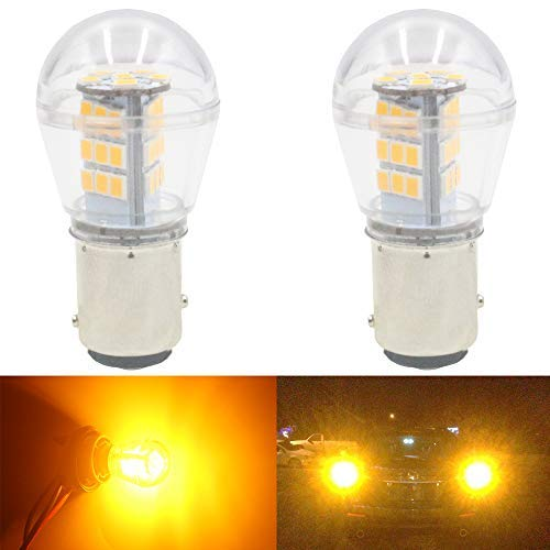 Bulb Amber Replacement - AMAZENAR 2-Pack 1157 BAY15D 1016 1034 7528 2057 2357 Extremely Bright Amber/Yellow LED Light 9-30V-DC, 2835 33 SMD Replacement Bulbs For Turn Signal Lights Blinker