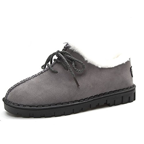 Women's Flat Toe Brown Shoes Round HSXZ Boots Brown ZHZNVX Casual Gray Heel Snow Cashmere Black Winter for Boots 45g68FqwPF