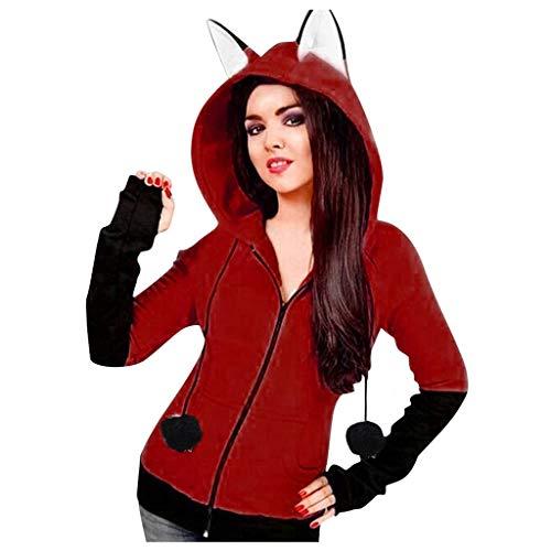 Sweatshirts for Women Hoodie Zip, Yezijin Women Long Sleeve Zipper Coat Hoodie Jacket Patchwork Hooded Sweatshirts