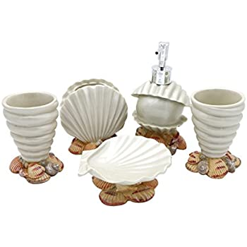 Seashell bathroom set decor beach bathroom for Seashell bathroom accessories